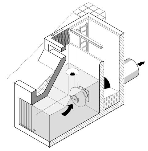 Obrázek - Vertikální vírový ventil s přelivem FluidVertic - Pond